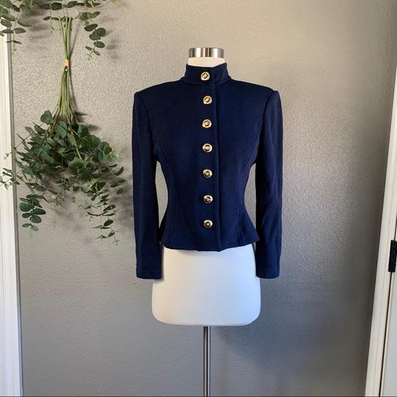 St. John navy santana knit button front jacket 2